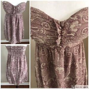 Bebe Pink & Ivory Strapless Paisley Strapless Dres